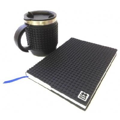 SET creativ cu pixeli agenda cu coperta negre+canelă termos negre
