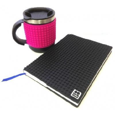 SET creativ agenda cu pixeli coperta negra+cană termos cu pixeli fuxia