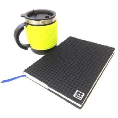 SET creativ  cu pixeli coperta negra+cană termos  pixeli neon verde