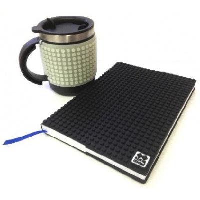 SET creativ agenda cu pixeli coperta negra+cană pixeli fosforescenta gri