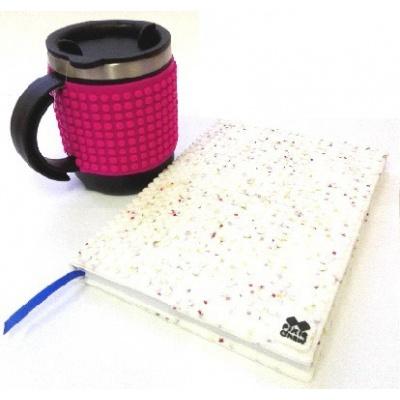 SET creativ agenda cu pixeli coperta stele albe+cană termos pixeli fuxia