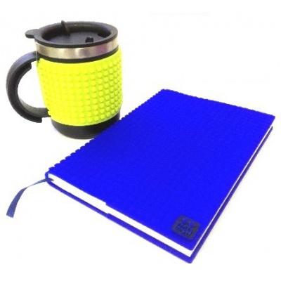 SET creativ cu pixeli : agendă copertă albastră+cană termos verde neon