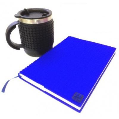 SET creativ cu pixeli: agendă cu copertă albastră+cană termos   neagră