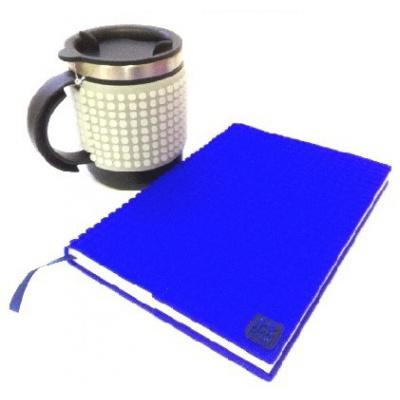SET creativ cu pixeli : agendă cu copertă albastră+cană termos gri fosfor