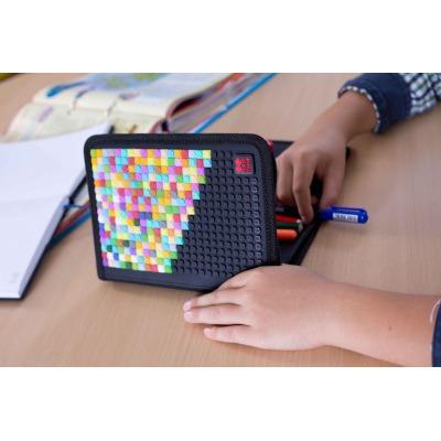 Penar scolar cu pixeli creativi carouri gri PXA-04-K23