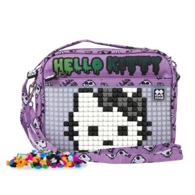 Borsetă de umăr cu pixeli creativi Hello Kitty violet PXB-09-89