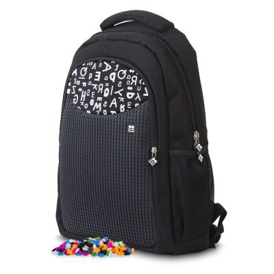 Rucsacul scolar cu pixeli creativi negru cu litere PXB-16