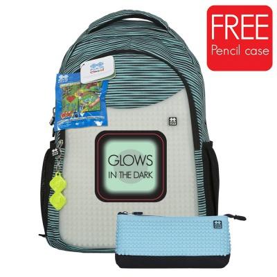 Rucsac școalar cu pixeli creativi+penar bleu gri fosforescent PXB-16-02
