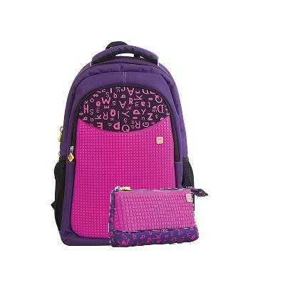Rucsac școalar pixeli creativi+penar violet cu litere PXB-16