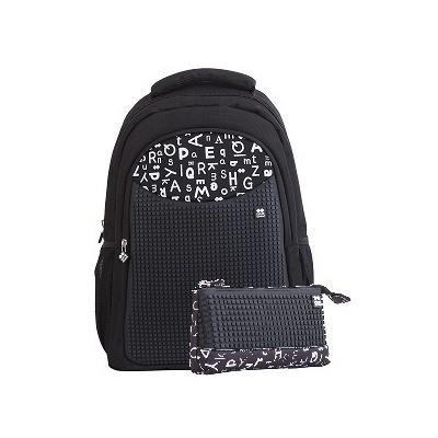 Rucsac școalar pixeli creativi+penar negru cu litere PXB-16