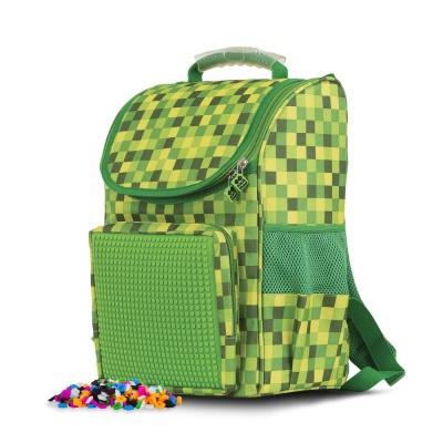 Ghiozdan  școlar PXB-22-D07 Minecraft verde cu carouri