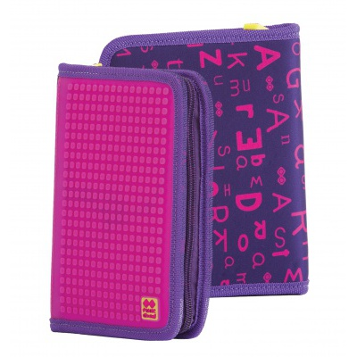 Penar scolar cu pixeli creativi cu litere violete PXA-04