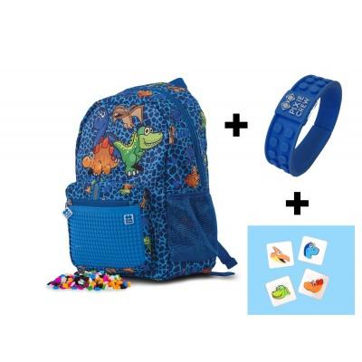 Rucsac pt. copii cu pixeli creativi Dino PXB-18-90 cu brățară GRATIS