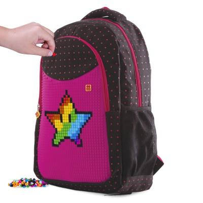 Rucsac școalar cu pixeli creativi fuchsia/negru PXB-16-L15